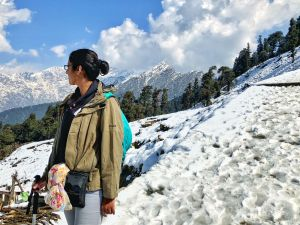 Snow covered mountains in background while hiking to Tunganath temple in Chopta, Uttrakhand