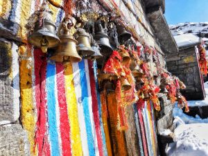 Bells outside temple Tunganath temple in Chopta, Uttrakhand