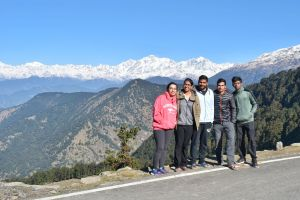 Group photo in front of Himalayas from Chopta in Uttrakhand