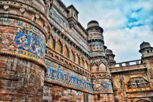 Glazed colored tiles of Gwalior Fort in Madhya Pradesh or MP