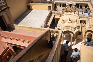Narrow stairs in Hawa Mahal in Jaipur during day