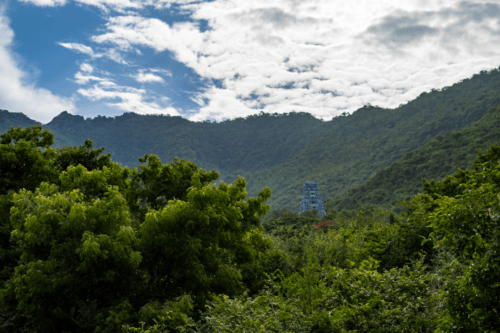 Panoramic view of the hills behind Maruthamalai temple in Coimbatore
