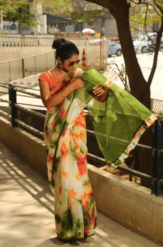 A candid capture when I was managing my saree