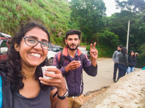 Enjoying some hot tea at Pothamedu Viewpoint