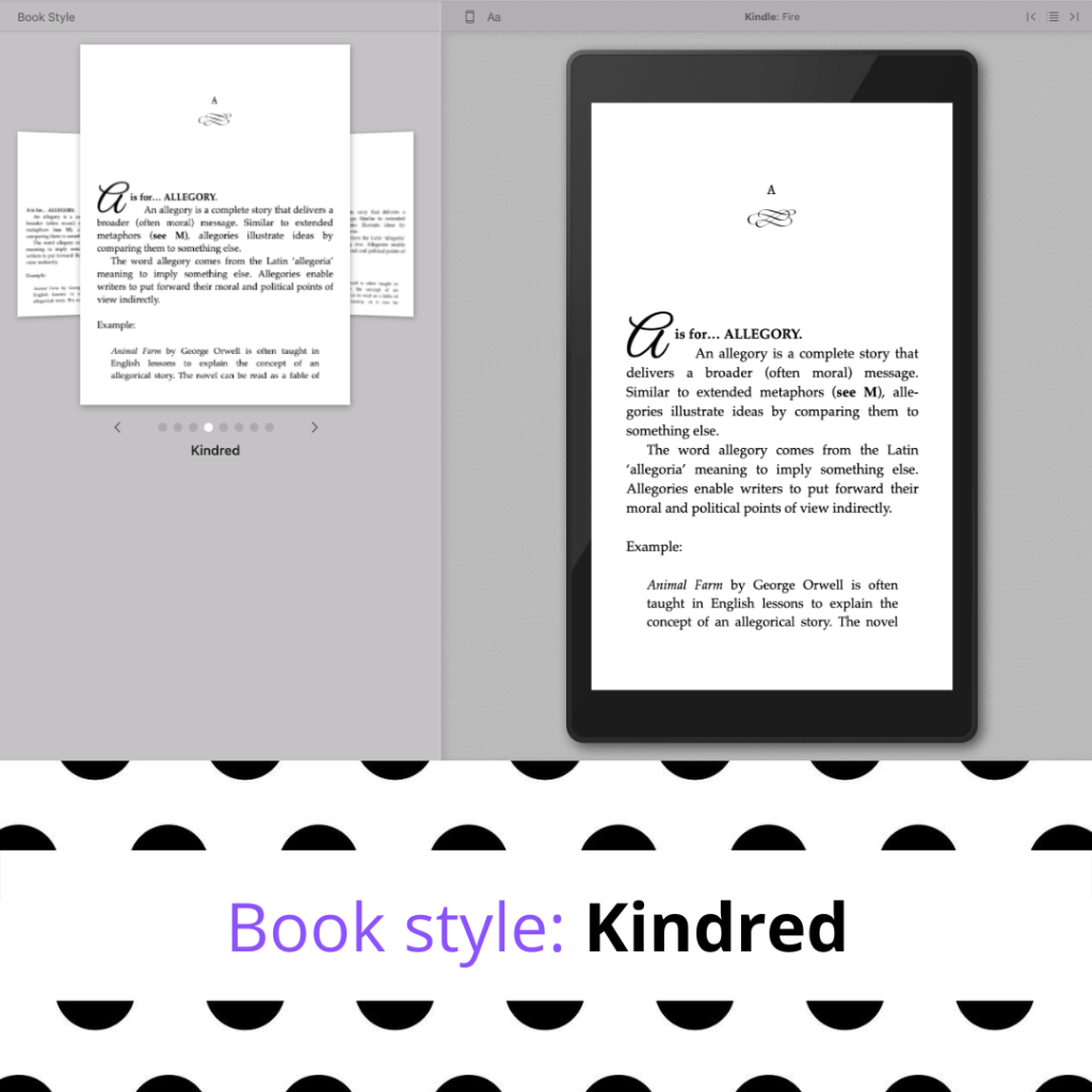 Kindred Vellum book style