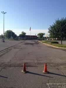 Carbondale Plaza shopping center parking lot repave project in Carbondale, IL, in progress! | Penninger Residential & Commercial Asphalt Paving