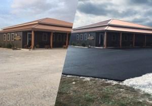 Asphalt Commercial Parking Lot Before & After | Penninger Asphalt Paving, Inc