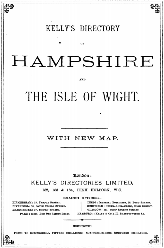 Description of Pennington in Kelly's Directory of Hampshire – 1898