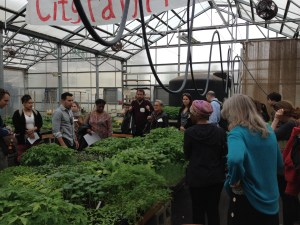 Workshop participants touring the Dudley greenhouse and the Dudley Land Trust