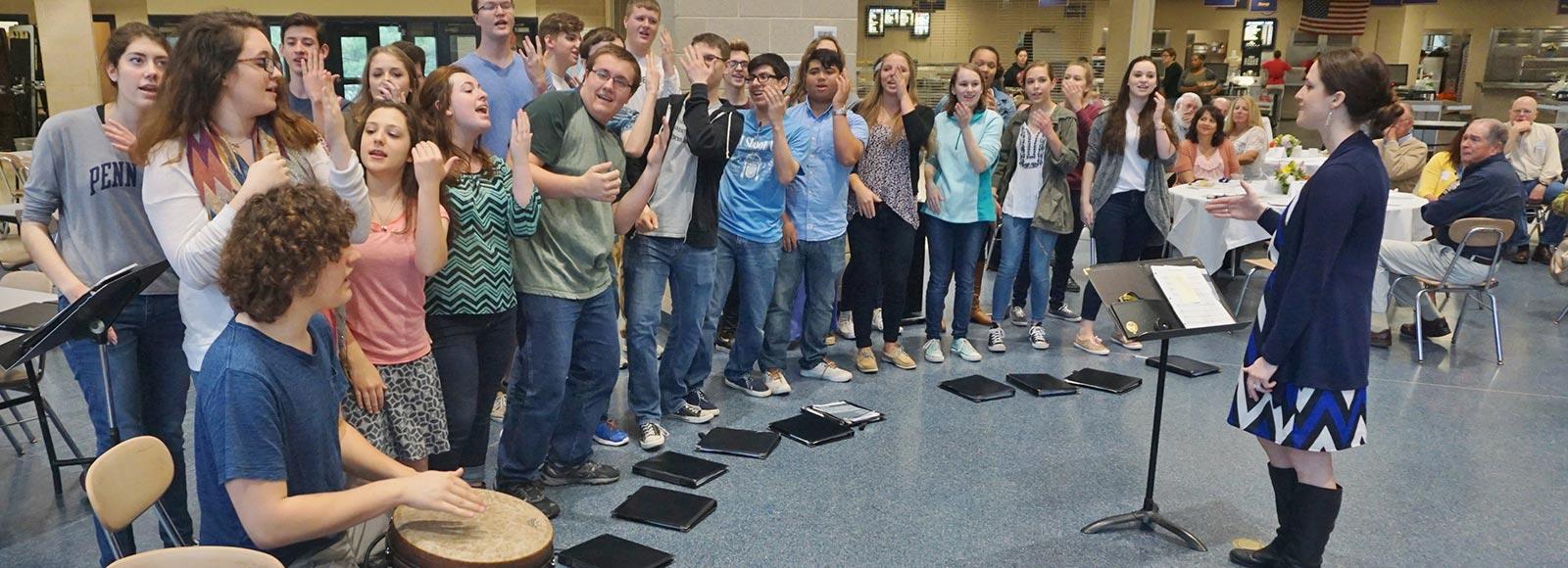 Students entertain at Retiree Breakfast