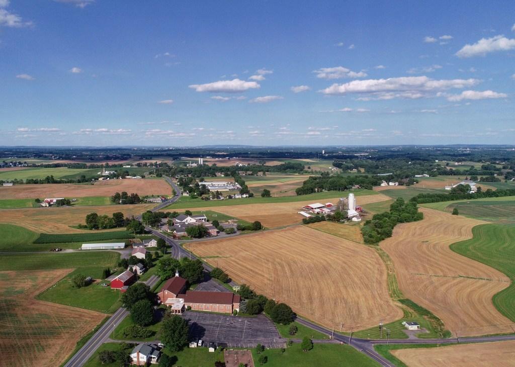 Farm field image from drone camera