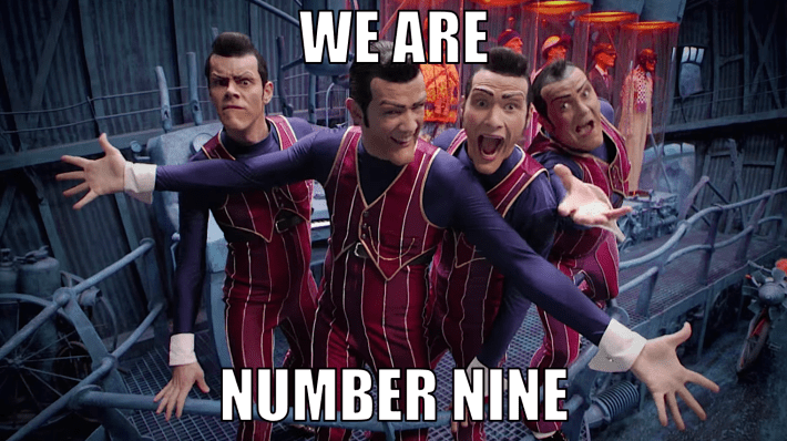 """Lazytown's Robbie Rotten and his 3 doppelgängers say """"We are number nine."""""""