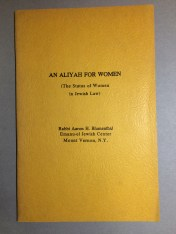 An aliyah for women: (the status of women in Jewish law), 1972