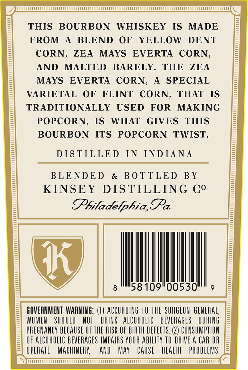 This bourbon whiskey is made from a blend of yellow dent corn, Zea Mays Everta Corn, And Malted Barley. The Zea Mays Everta Corn, a special varietal of flint corn, that is traditionally used for making popcorn, is what gives this bourbon its popcorn twist.