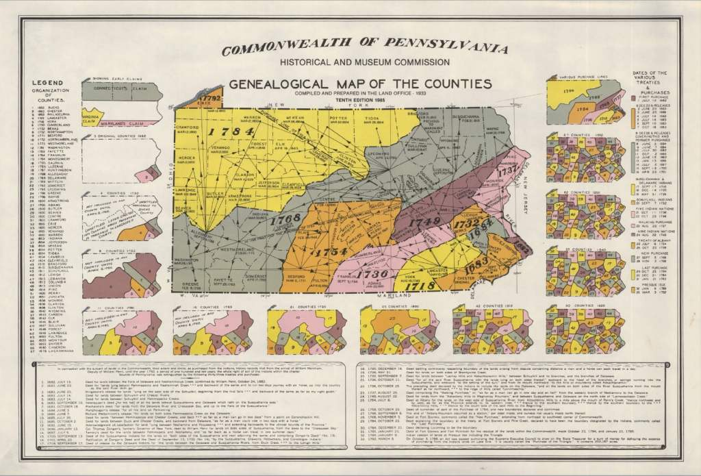 Genealogical Map of the Counties of Pennsylvania