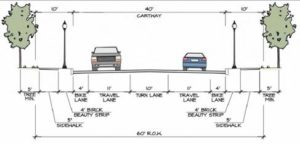 Street enhancement requirements graphic for Doe Run Road/East High Street pedestrian enhancement project.