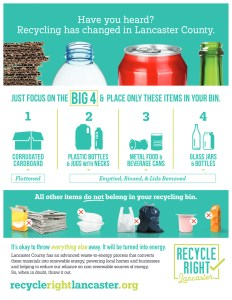 Recycle Right Lancaster: Recycle The BIG 4: corregated cardboard, plastic bottles & jugs with necks, metal food & beverage cans, and glass jars & bottles