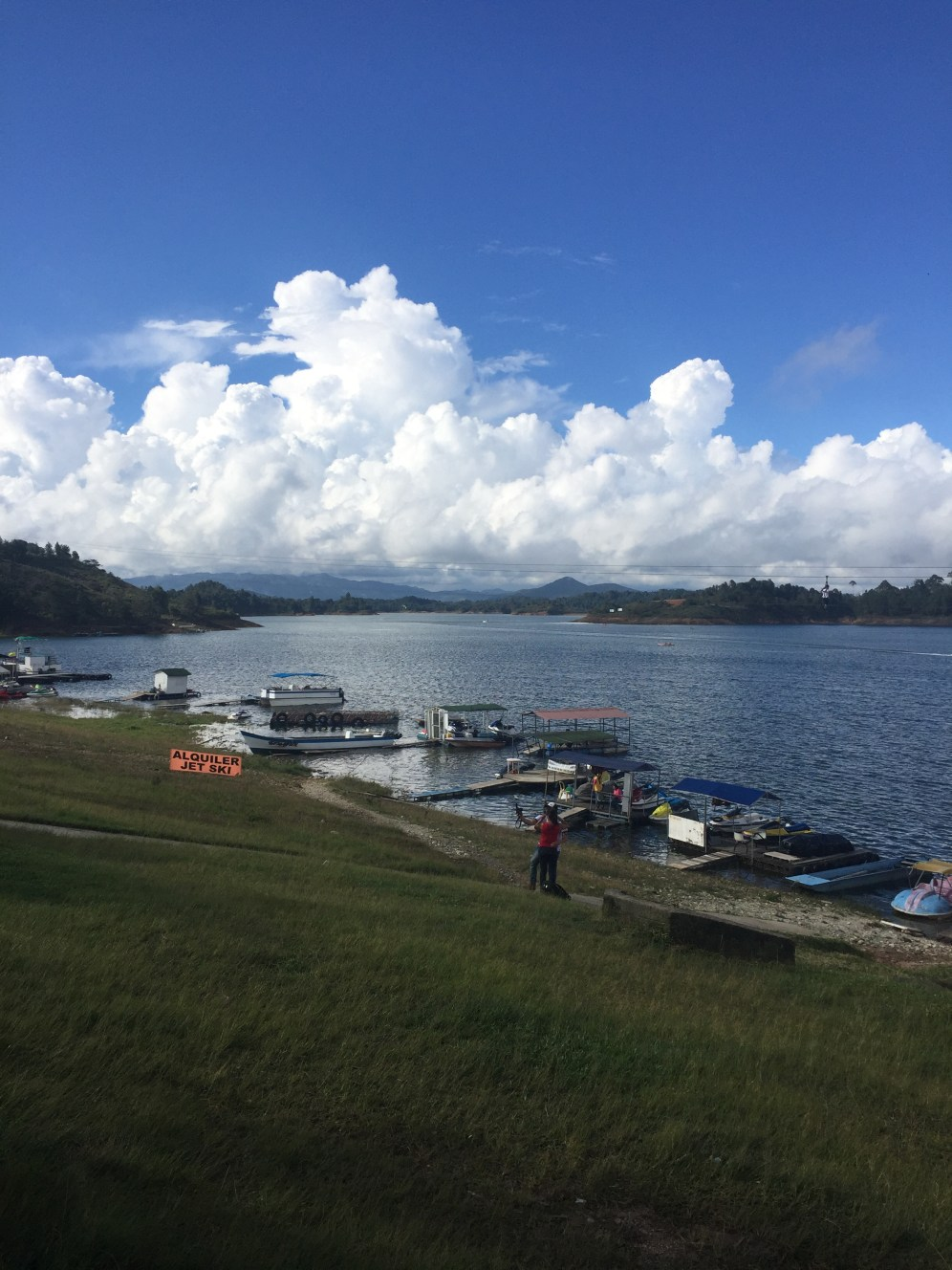 Lakeshore in Guatapé. Lots of boats and water activity and even a zipline.