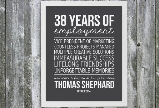 Customizable Retirement Gift - Years of Employment- Personalized Retirement Gift- Custom Gift