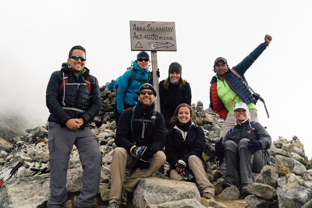 The group at Salkantay Pass, 4630 mt.