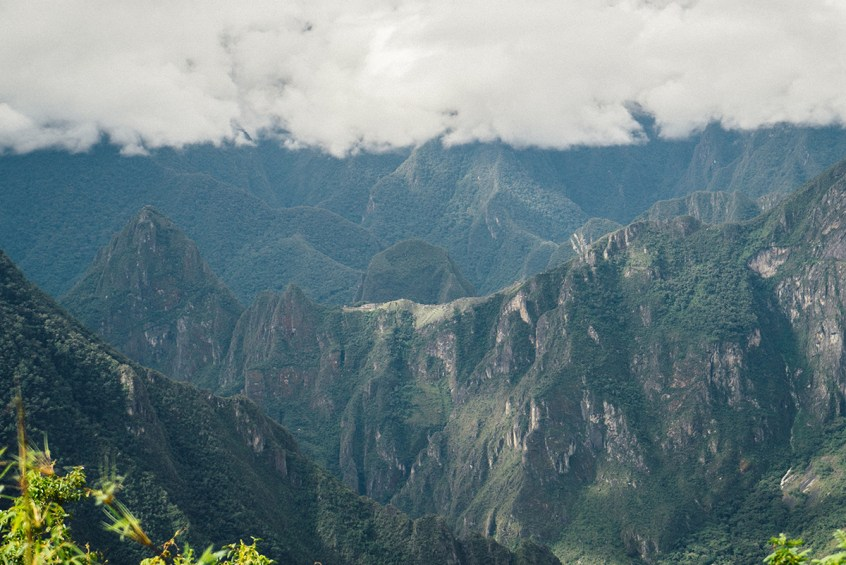 Our first peek of Machu Picchu, across the valley from Llactapata.