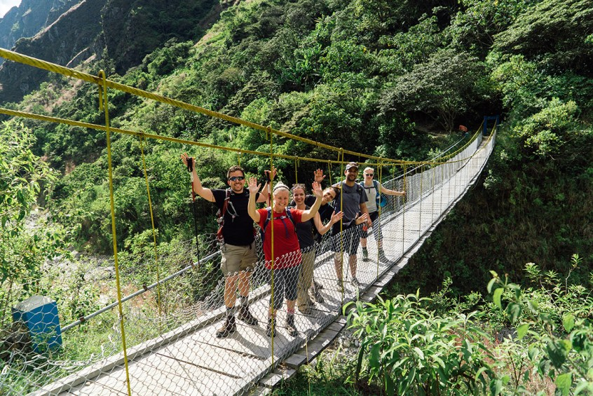 Crossing the long bridge over the Urubamba River