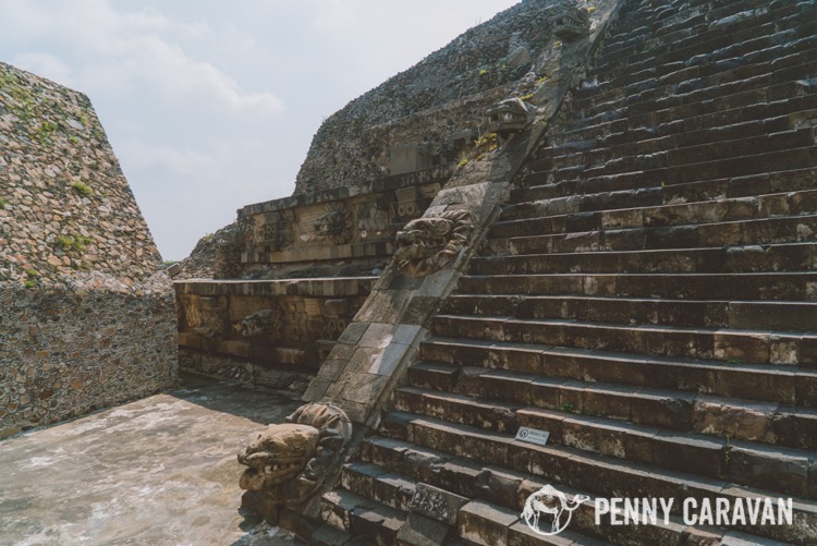 The first temple, Temple of the Feathered Serpent, just across from the entrance gates.
