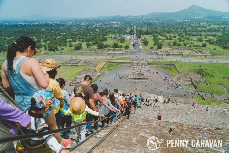 Walking down the Pyramid of the Sun—as you can see, it gets very crowded!