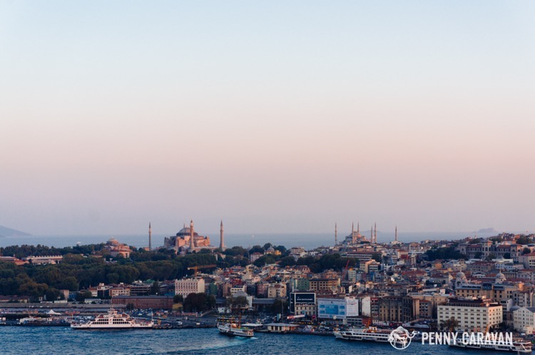 Looking across the Golden Horn from Galata Tower, you can see Topkapi Palace, the Hagia Sophia, and the Blue Mosque.