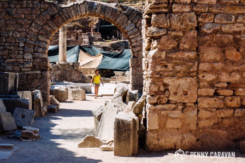 Happily walking through the city of Ephesus.