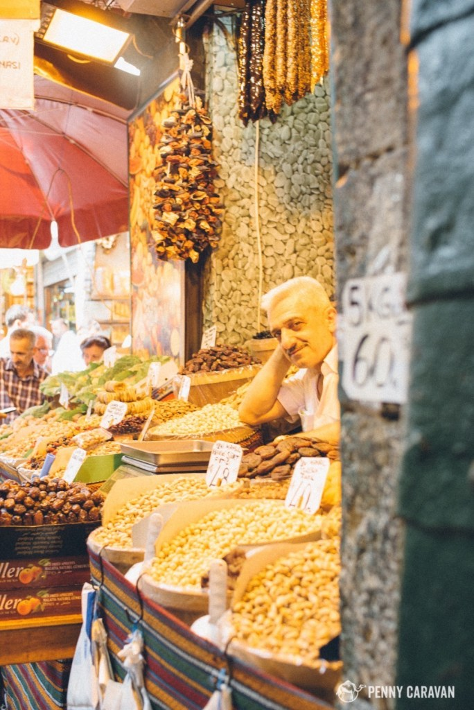 Friendly merchant's stall in the Spice Bazaar.