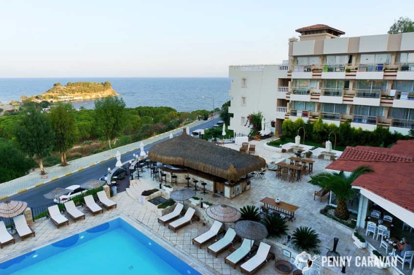 We enjoyed our stay at Hotel Carina, with a great view of Pigeon Island and Aegean sunsets.