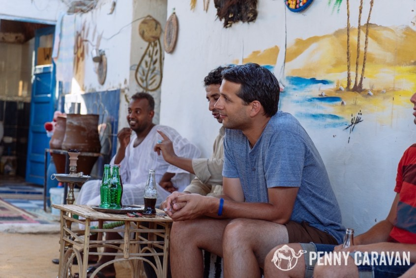 Enjoying the hospitality of our boat driver who took us to his home in the Nubian village.