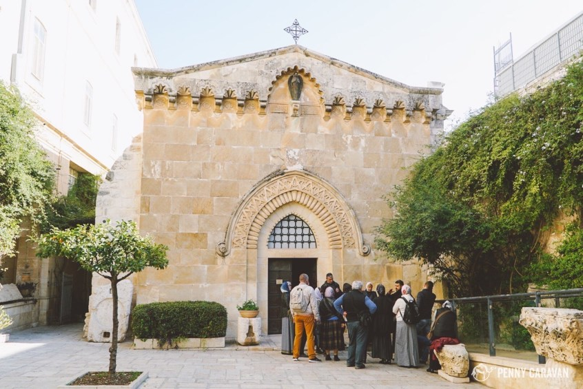 Entering the Franciscan Monastery courtyard and looking to the right, you'll see the Chapel of the Flagellation.