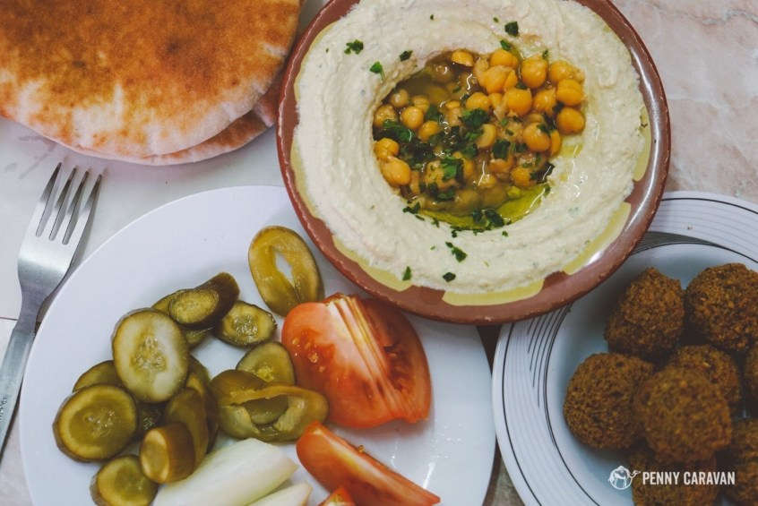 Hummus and falafel at Abu Shukri's on the Via Dolorosa.