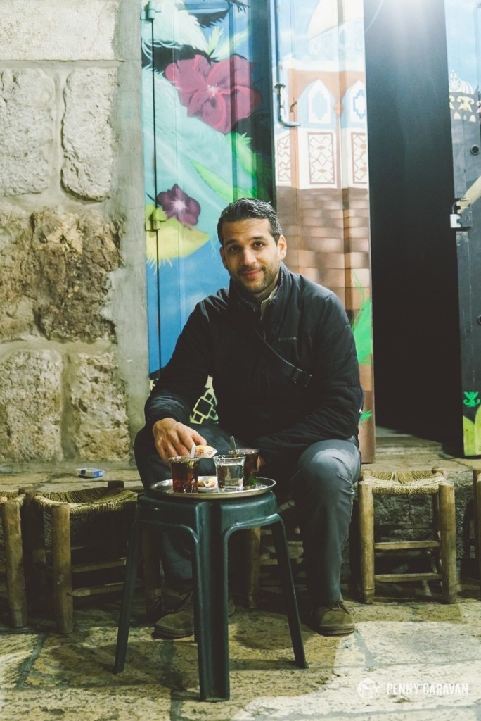 Having mint tea in the cotton souk just outside the Temple Mount.