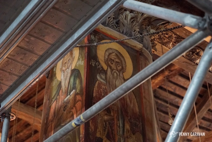 You can imagine how disappointed we were to walk in and find everything covered in scaffolding! The church was undergoing a major renovation project when we visited.