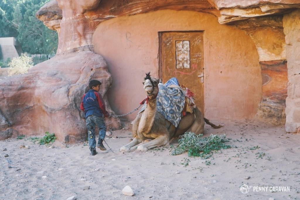 Bedouin homes inside Petra.