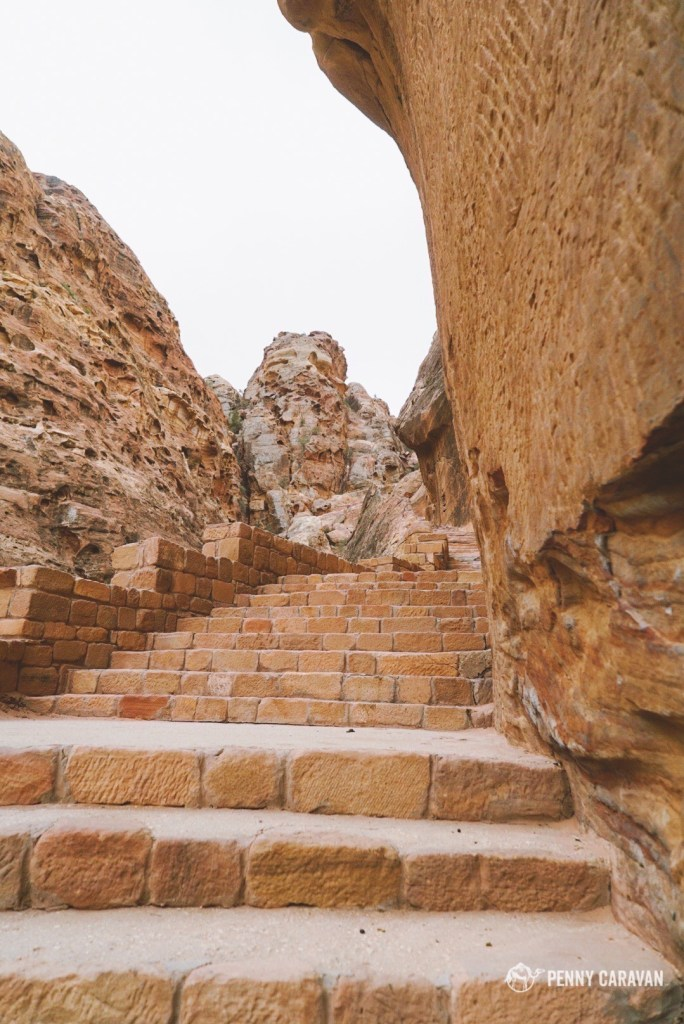 Steps to get to the ridge above the Royal Tombs.