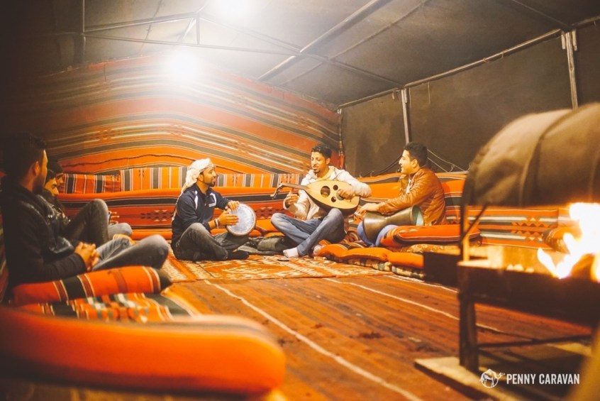 A truly talented group of young bedouins serenading their guests at Little Petra.