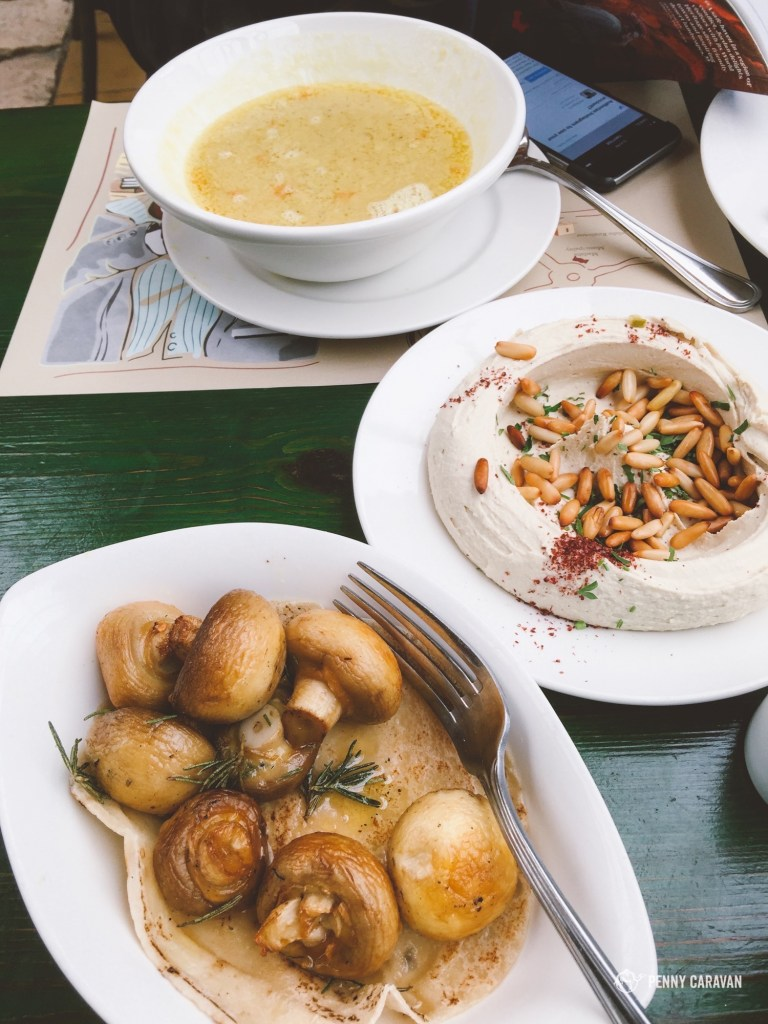 Lentil soup, hummus and mushrooms.