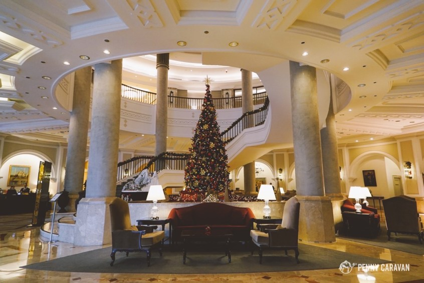 The lobby was decorated for Christmas.