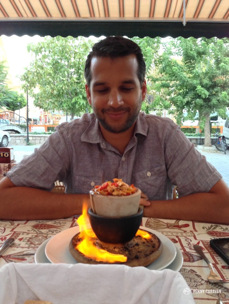 Teste Kebap is cooked in a ceramic pot and usually served flaming.