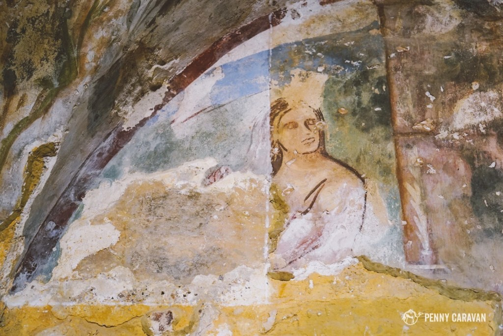 My favorite fresco at Qasr Amra shows a woman expressively combing her hair in the bath.