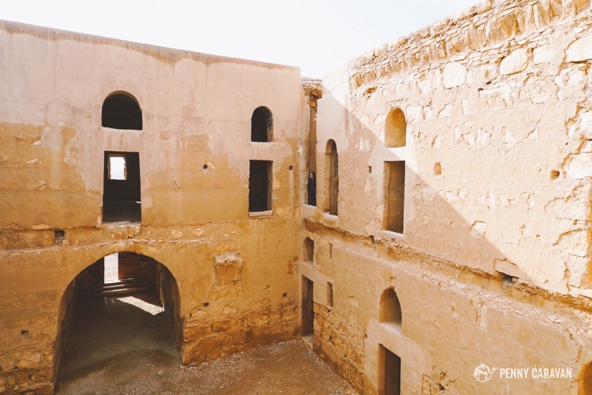 Situated like a caravanserai with an inner courtyard.
