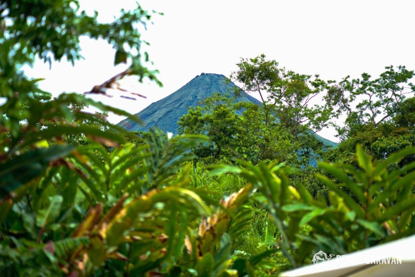 View of Arenal Volcano from one of the hot tubs.