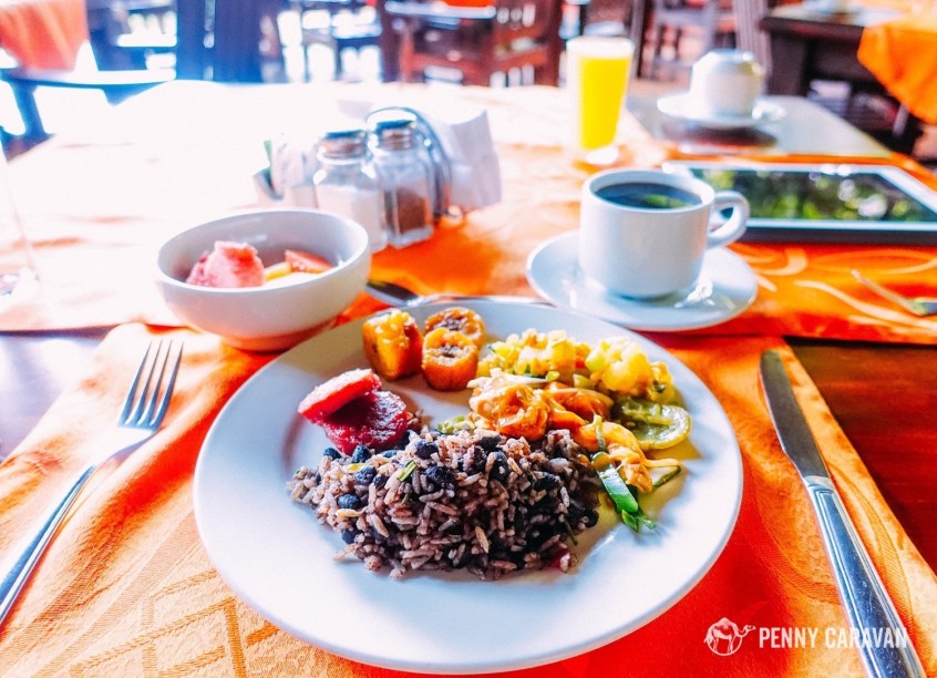 Breakfast included some local specialties as well as international offerings. Gallo Pinto and plantains pictured here.