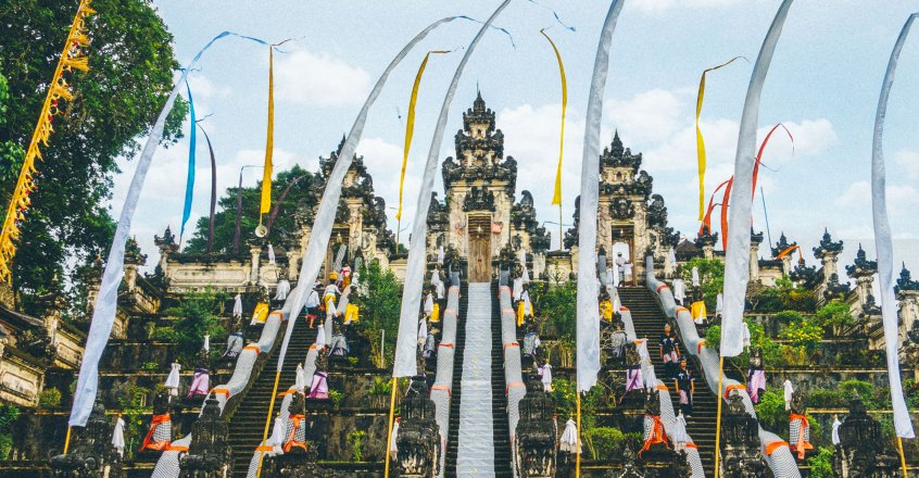 Standing In The Gates Of Heaven At Pura Lempuyang Penny Caravan