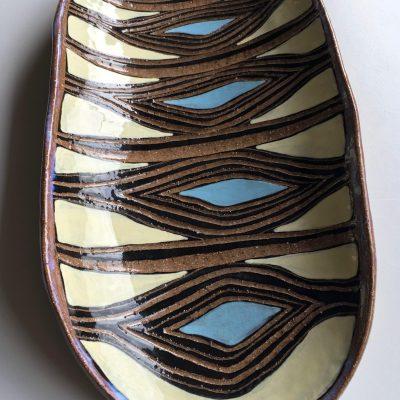 #690 Five Honey Cell ceramic Platter