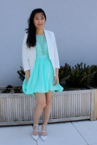 Spring and Summer: mint lace dress with white accesnts